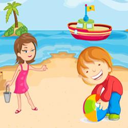 Дети на пляже — найди отличия