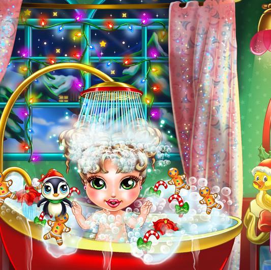 Baby-christmas-bath